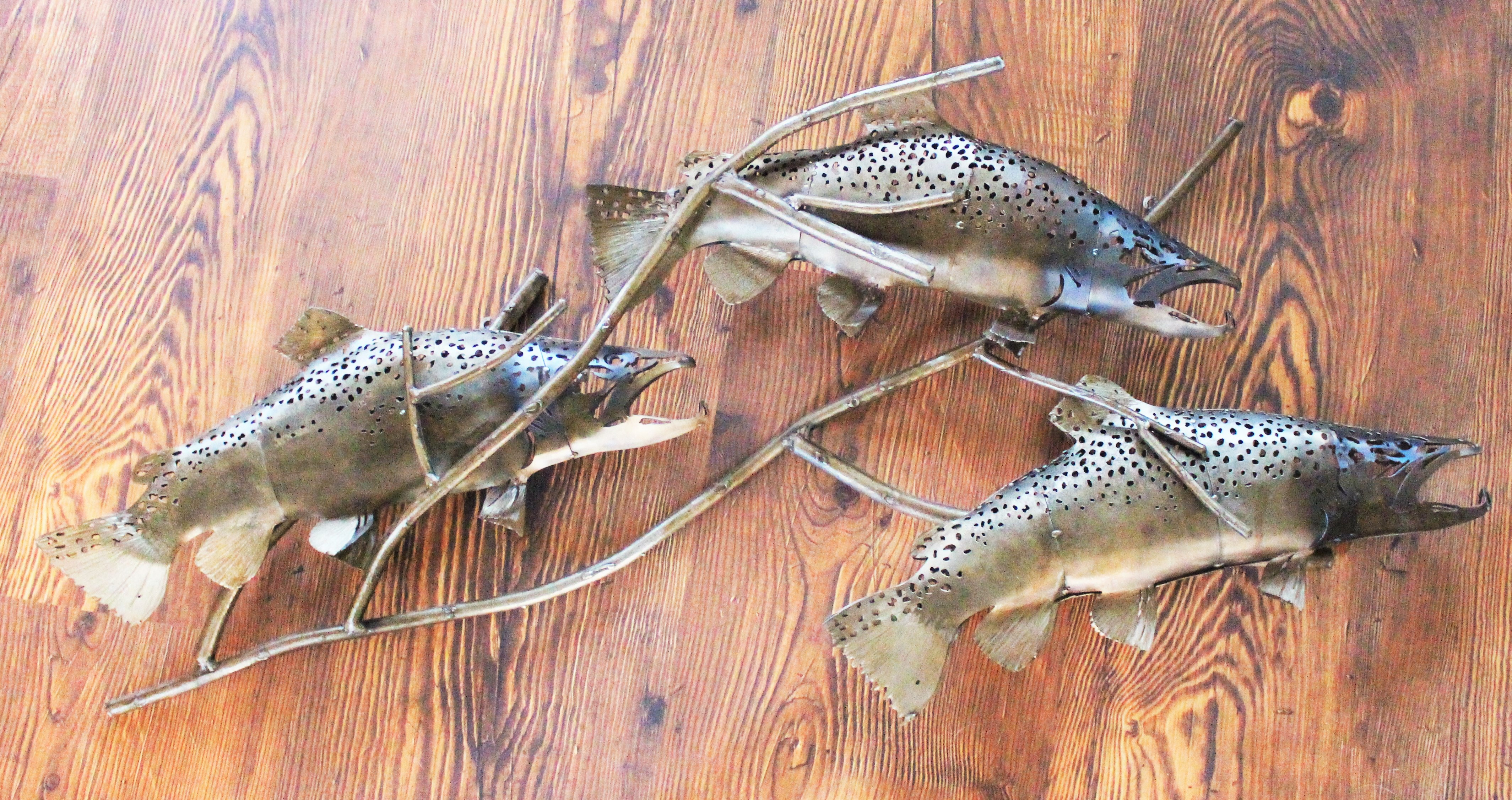 Brown Trout and Branch Sculpture