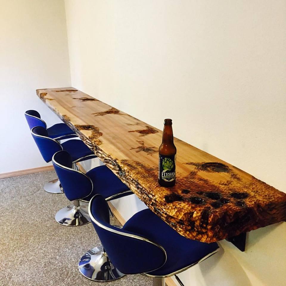 Carved Wood Slab Bar