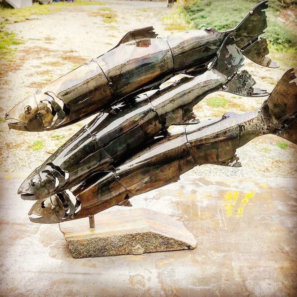 Triple Classic Fish Sculpture