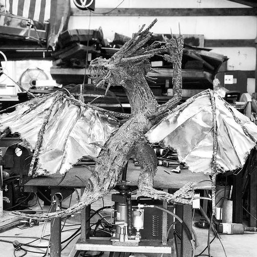 Large Steel Dragon Sculpture