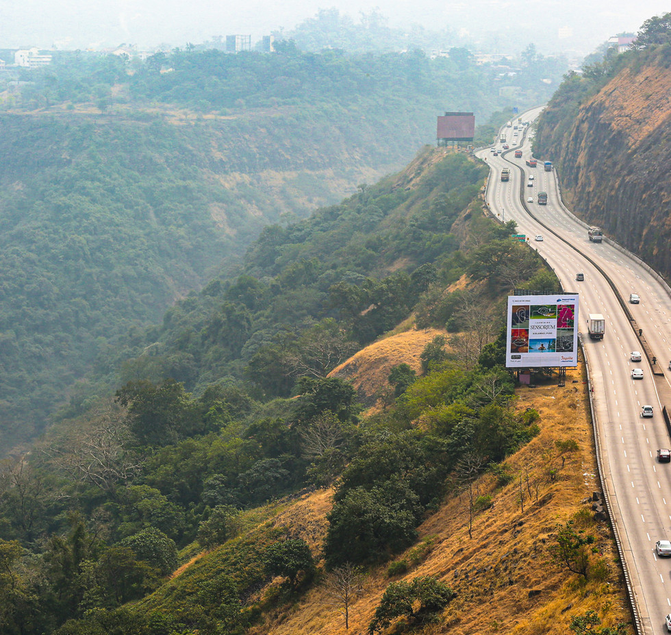 The Mumbai-Pune expressway passing through Khandala ghat