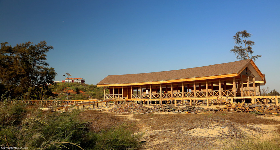 MTDC resort extension with wooden cabins at the Tambaldeg beach
