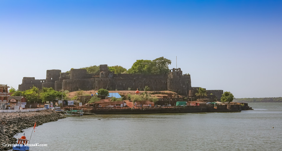 The Vijaydurga fort ....surrounded from three sides by the water ...