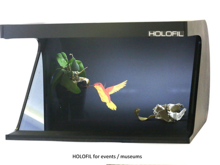 Holographic video projector using HOLOFIL