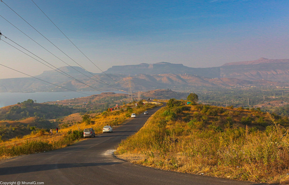 Pavna road with fort Lohgad and Visapur in the backdrop