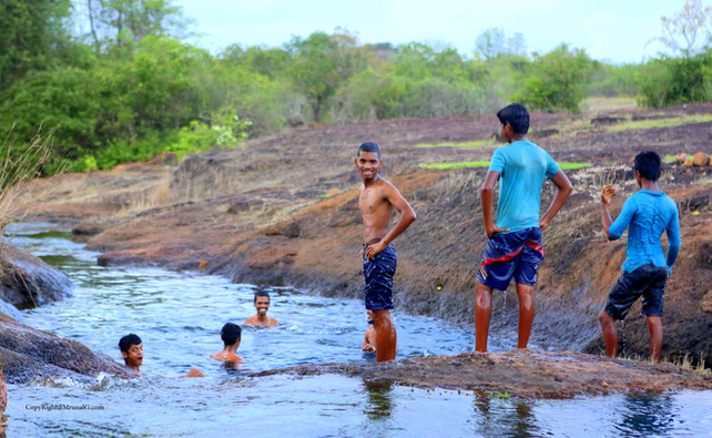 Enjoying the water sports in the local stream of water near Vimleshwar temple area