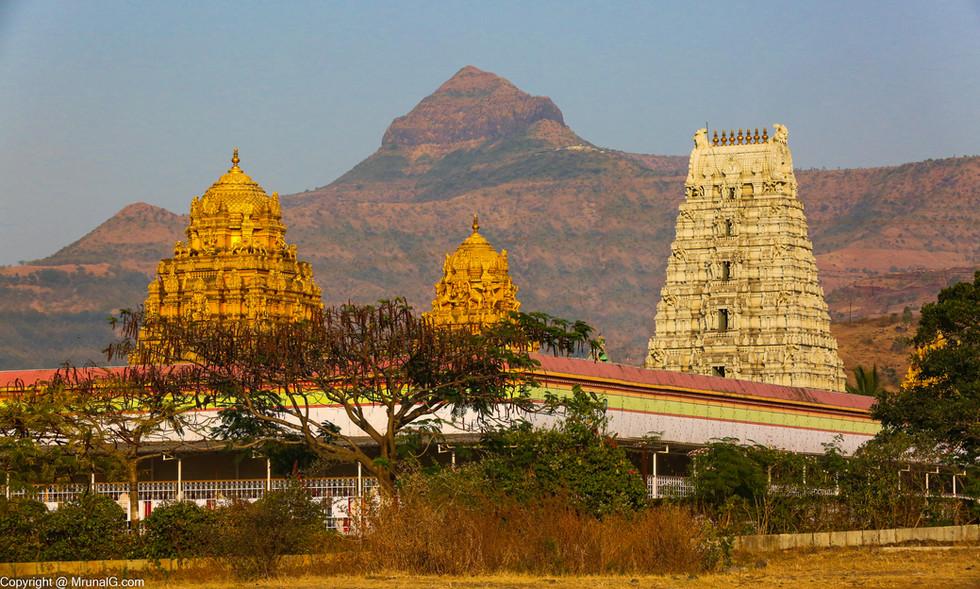 Prati Tirupati Balaji temple at Narayan pur Saswad area with the fort Purandhar in the backdrop