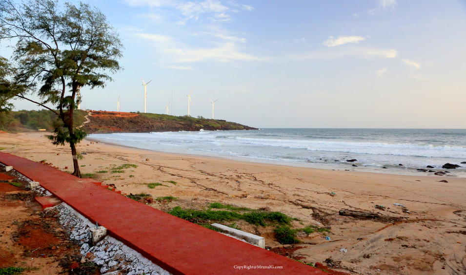 Panaroma of the Devgad beach from the road climb to Devgad fort area