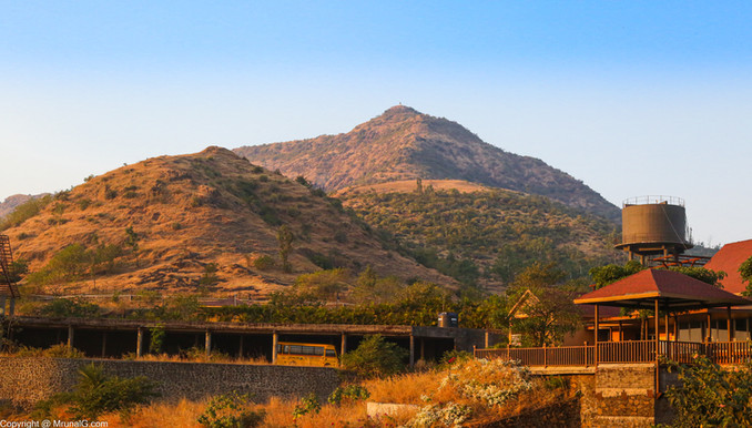 Resort at the Fort Purandhar nearby hills in the Saswad area