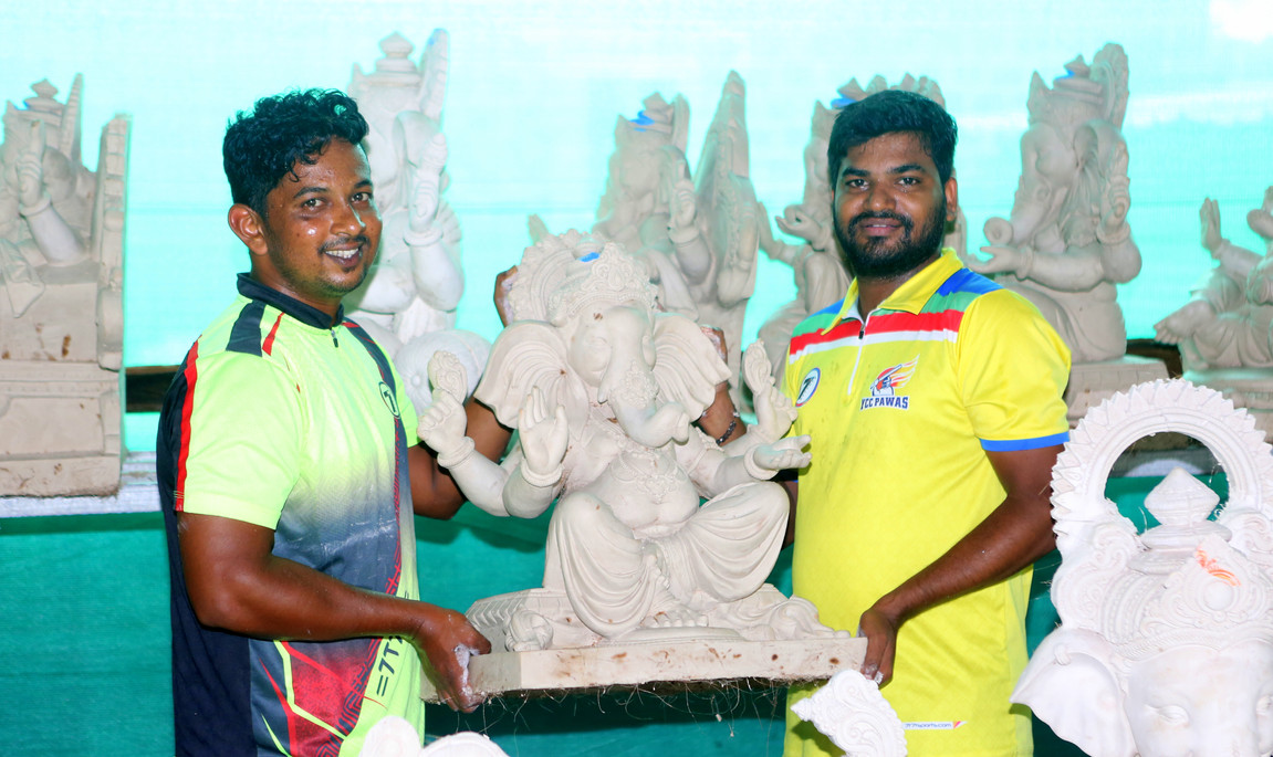 Workers prepare Lord Ganesha Idols for the Ganesha festival in August