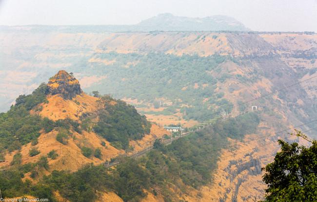 The railway line passing through Khandala ghat section