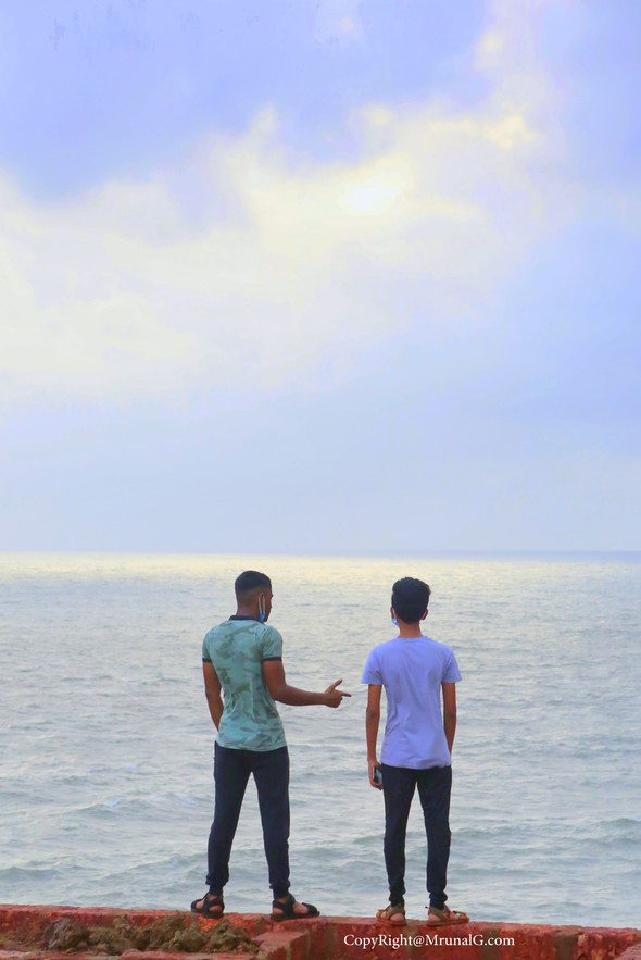 Deep discussion by the sea