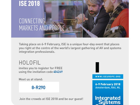 HOLOFIL to showcase at Integrated System's Europe (ISE 2018) Feb 6th-9th - XR-Summit