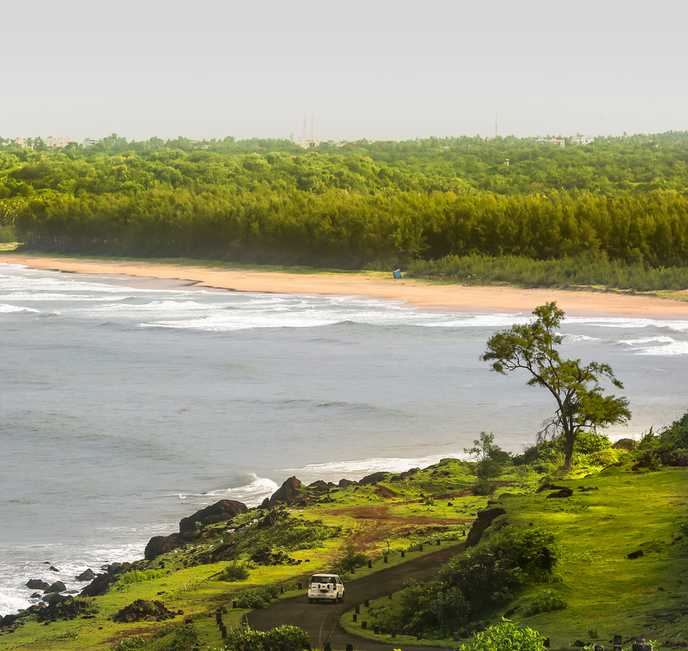 The scenic coastal route from the Kunkeshwar temple to Devgad