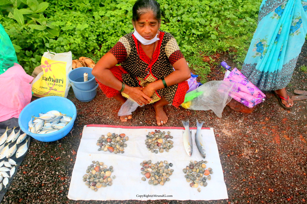 Sule a type of shell based fish being sold at Mithmumbari bridge area