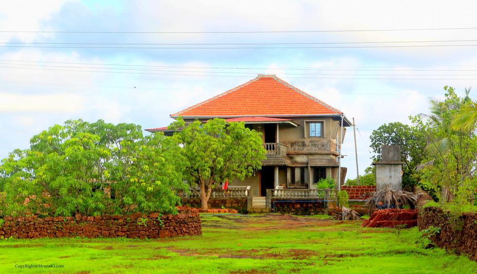 A new modern villa house on the outskirts.