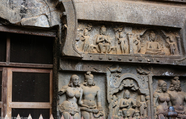 Stone carvings at Karla caves