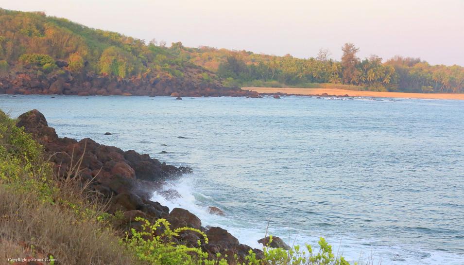 View of beach next to Taramumbari beach from the hills behind the Devgad windmills