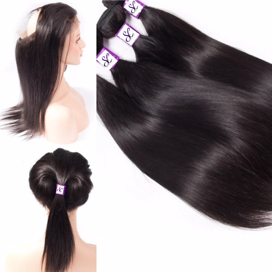 3 BUNDLES AND  1, 360 LACE FRONTAL BONE STRAIGHT