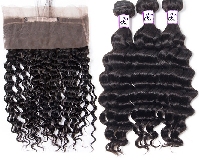 3 BUNDLES AND  1, 360 LACE FRONTAL DEEP WAVE