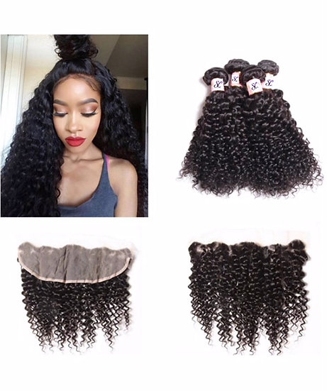 "3 BUNDLES AND 1, 13X4""LACE FRONTAL SASSY CURL"