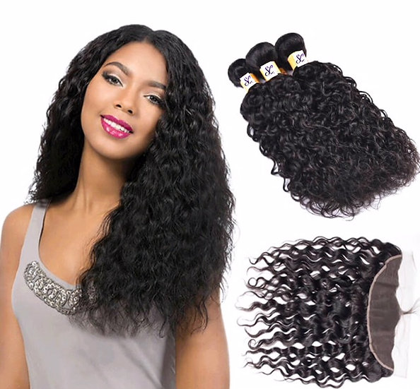 """3 BUNDLES AND  1, 13X4""""LACE FRONTAL WATER WAVE"""