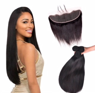 """3 BUNDLES AND  1, 13X4""""LACE FRONTAL BONE STRAIGHT"""