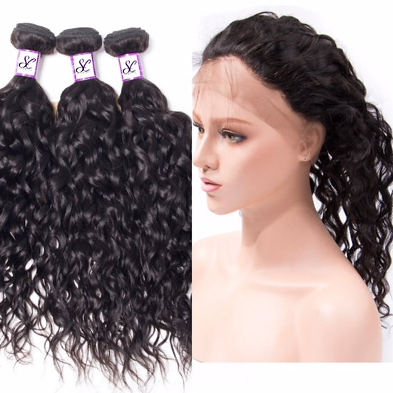 3 BUNDLES AND  1, 360 LACE FRONTAL WATER WAVE