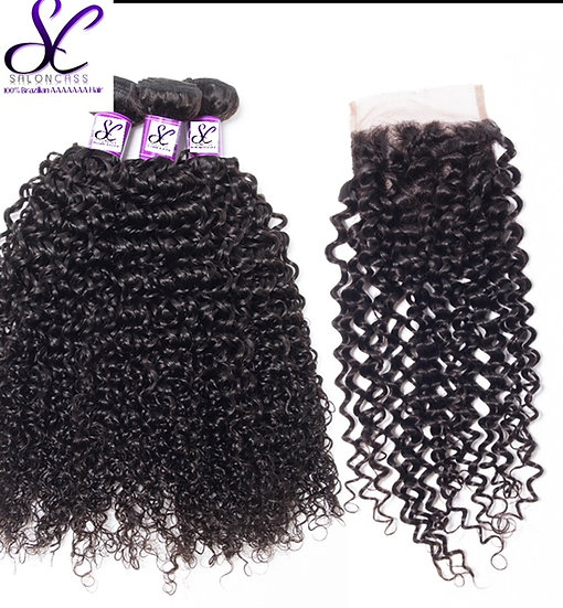 3 BUNDLES AND  1, 4X4 LACE CLOSURE SASSY CURL