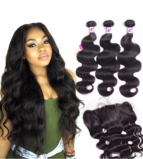 "3 BUNDLES AND  1, 13X4""LACE FRONTAL BODY WAVE"