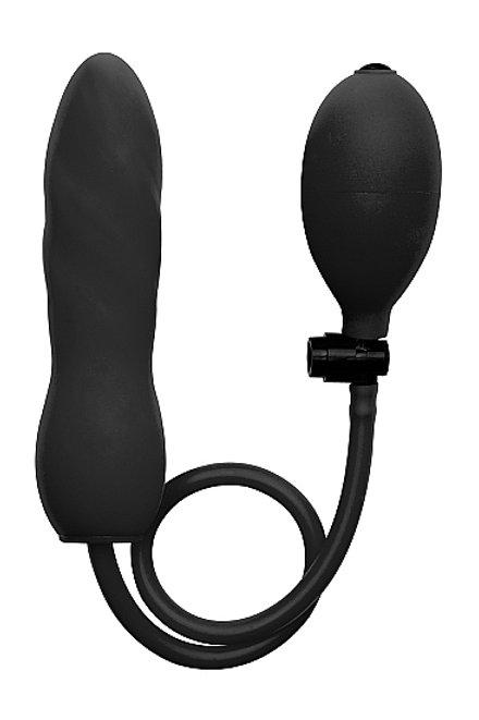 Aufblasbarer Silikon Twist Dildo in schwarz