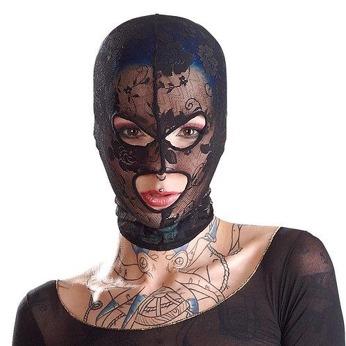 tätowierte Frau mit Bad Kitty SM Bondage Maske in schwarz mit Spitze