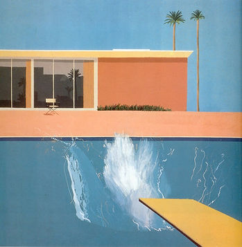 """Image of David Hockney's """"A Bigger Splash"""", painted in acrylic on canvas and dated 1967."""