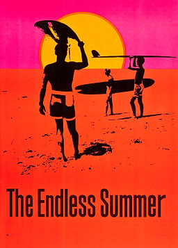Image of limited promotional poster for the 1966 surf movie, The Endless Summer, illustrated by John Van Hamersveld.