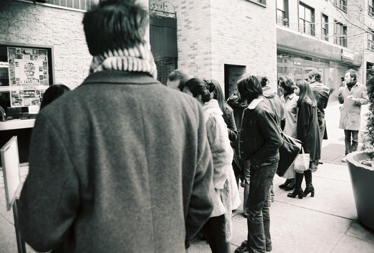 In line at Sutton Theater, 2002