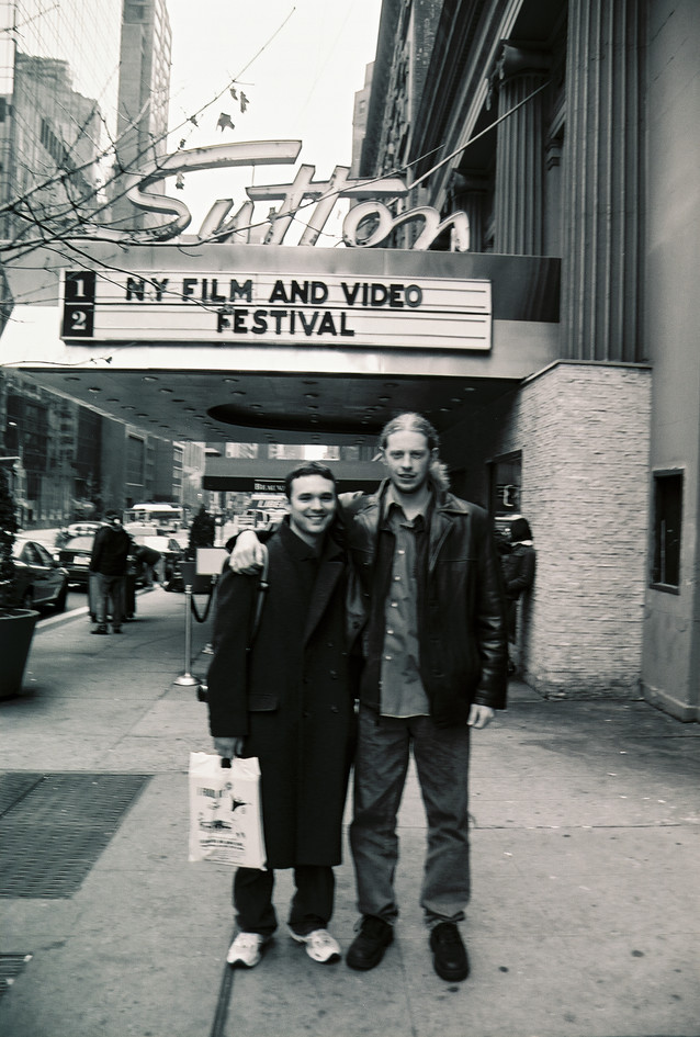 Outside Sutton Theater with Matt, 2002