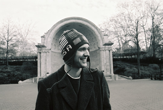 In Central Park wearing newly-purchased street vendor hat, 2002