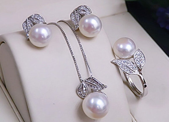 Natural Freshwater White Pearl Jewelry Set 925 Sterling Silver Jewelry Sets Gift