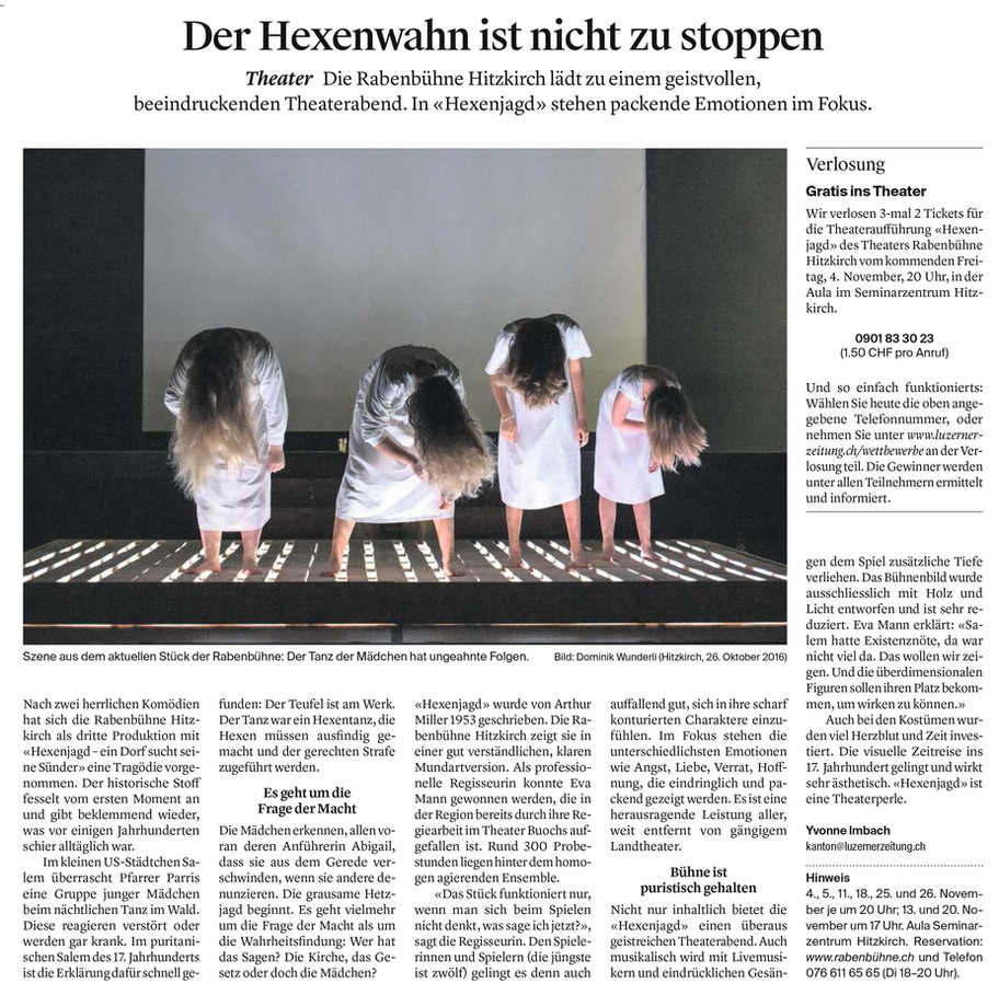 Luzener Zeitung zu HEXENJAGD