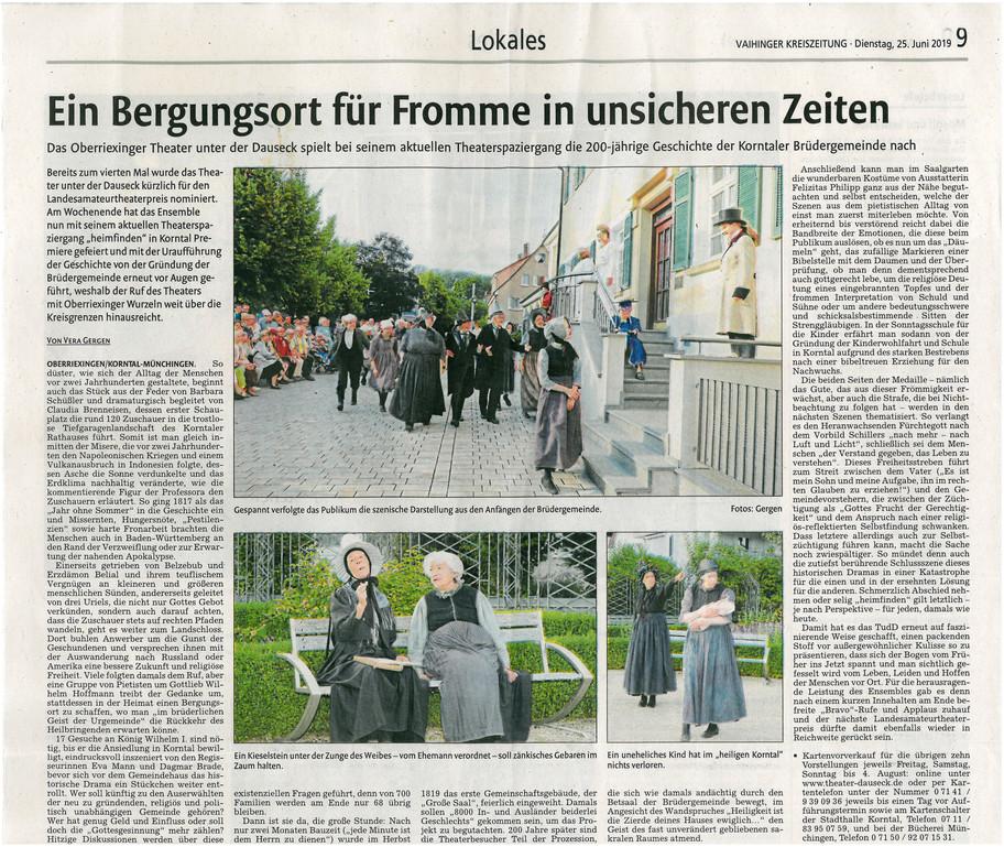 Premierenbericht HEIMFINDEN, Vaihinger Kreiszeitung