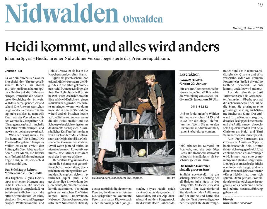 Premierenbericht HEIDI, Nidwaldner Zeitung