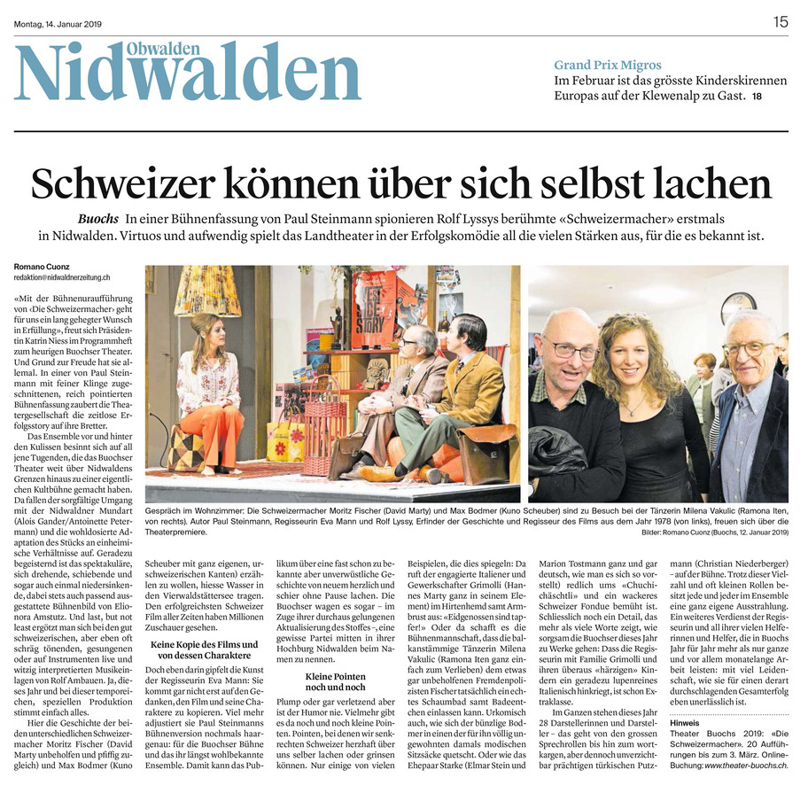 Premierenkritik SCHWEIZERMACHER (Nidwaldner Zeitung)