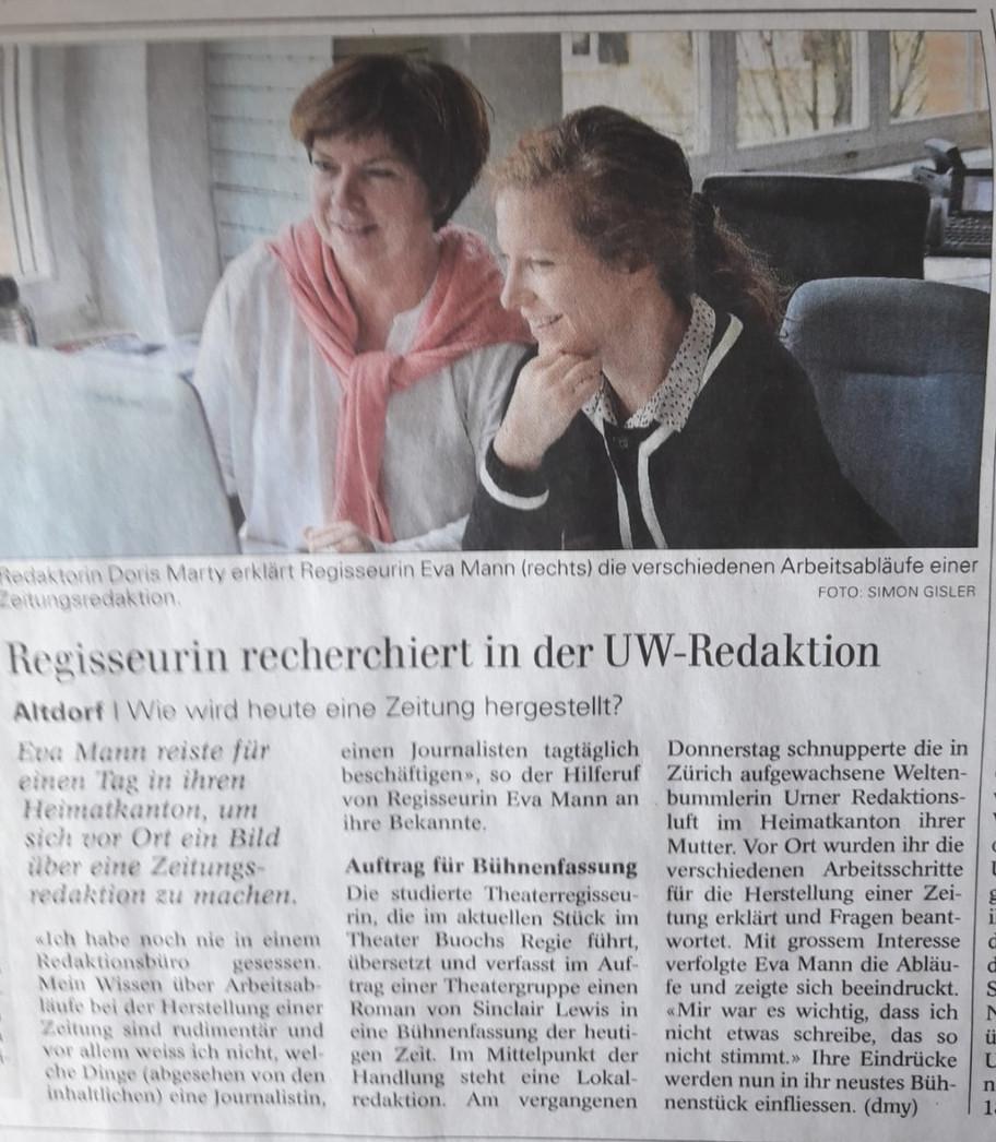 Recherche DAS CHA BI EUS NED PASSIERE, Urner Wochenblatt