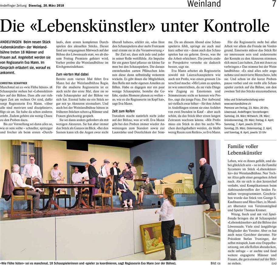 Probenbesuch LEBENSKÜNSTLER Andelfinger Zeitung
