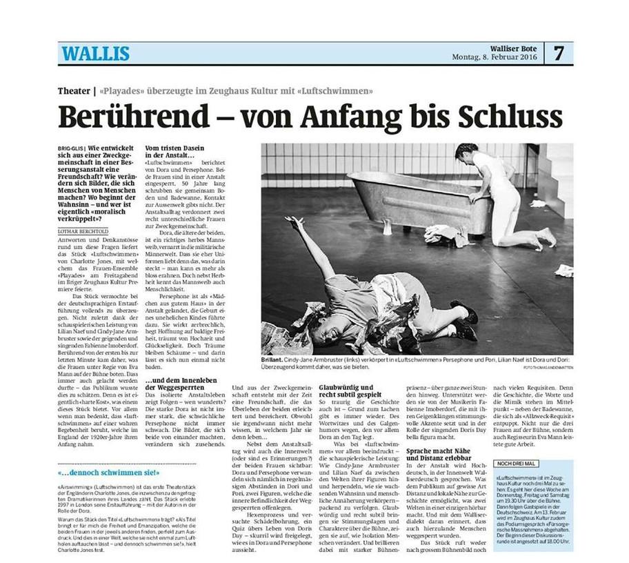 Premierenkritik LUFTSCHWIMMEN Walliser Bote