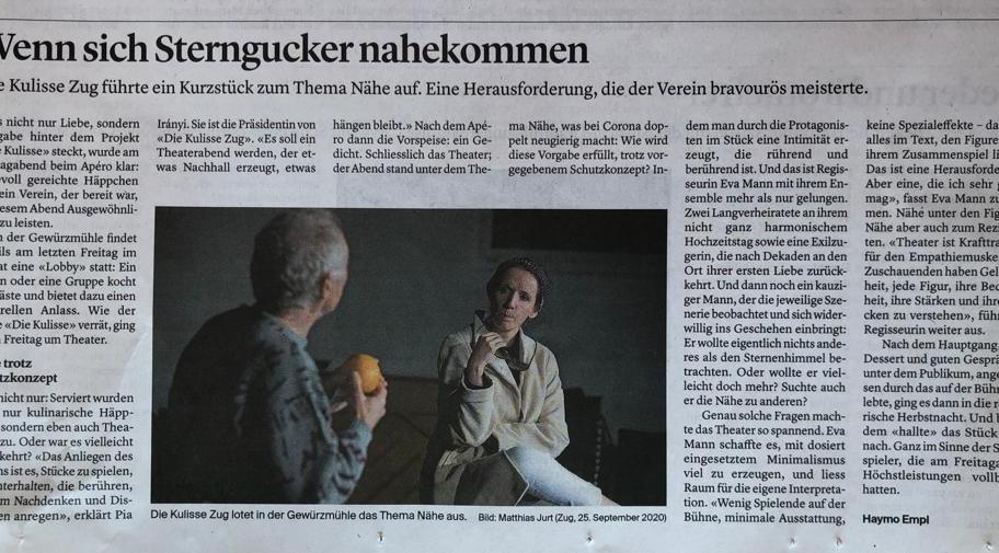 """Kritik LOBBY """"NÄHE"""", Zuger Zeitung"""
