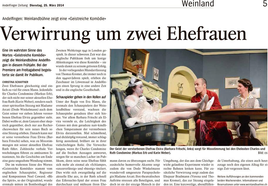 Andelfinger Zeitung zur GEISTREICHEN KOMÖDIE