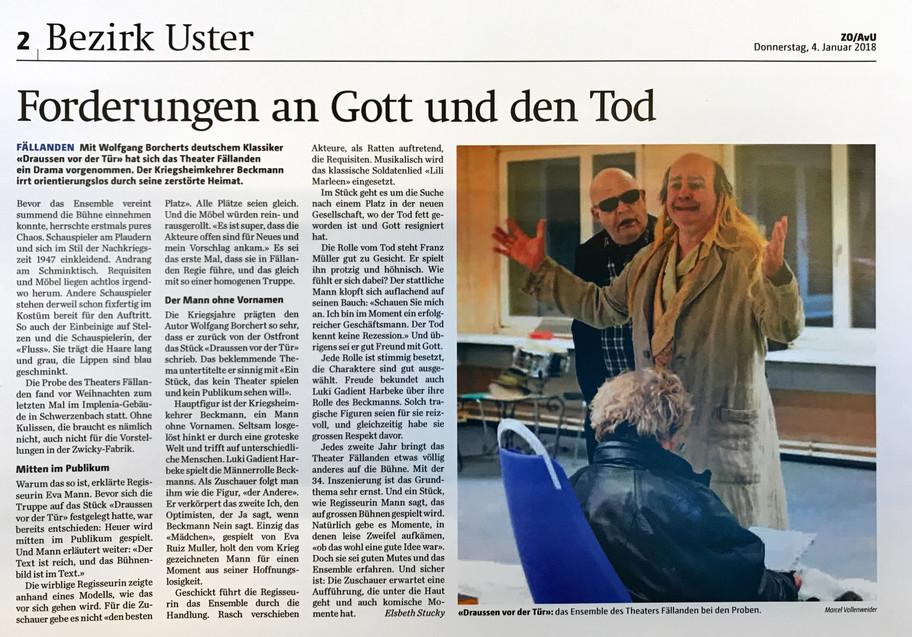 Vorschau DRAUSSEN VOR DER TÜR im Anzeiger von Uster