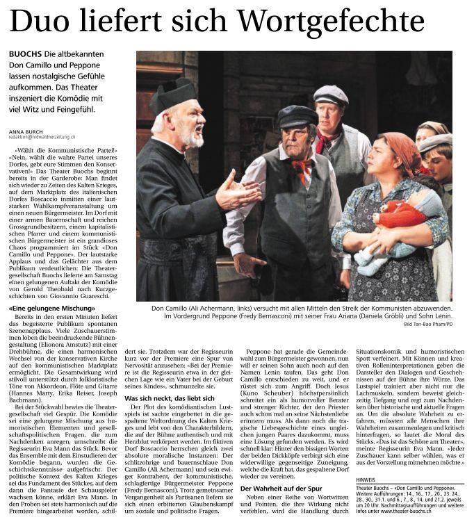 Nidwaldner Zeitung zu DON CAMILLO