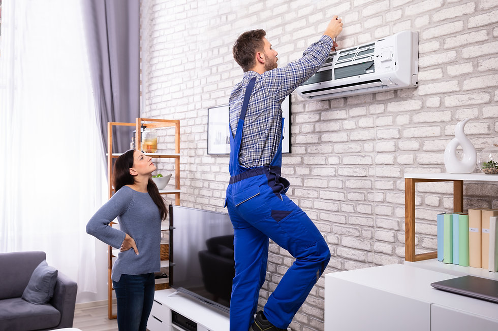 Young Woman Looking At Male Technician Repairing Air Conditioner Mounted On Brick Wall.jpg
